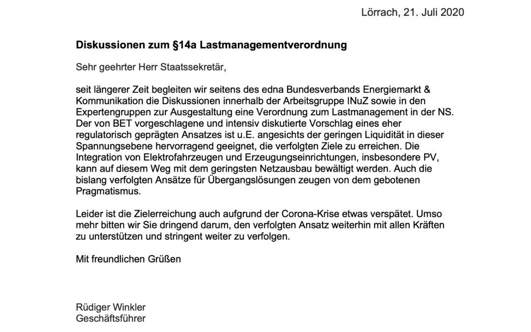 Offener Brief zu §14a EnWG